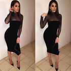 Stretch Bodycon Women Autumn Tunic Mesh Patchwork Zip Up Fashion Party Dress A
