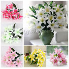 New 10 Heads Lily Silk Flower Artificial Bouquet Home Wedding Floral Decor Party