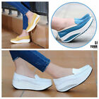 Women Students Leather Flats Loafers Platform Casual Shape Up Toning Wedge Shoes