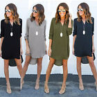 Plus Size Womens Chiffon V-neck Long Sleeve Casual Loose Tops Mini Shirt Dress