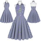 Women Vintage Swing Pinup Housewife Casual Striped Evening Party Dress Size S-XL