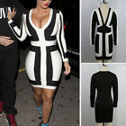 Fashion OL Women Sexy Deep V-Neck Black and White Splicing Party Dress