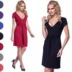 Glamour Empire. Women's Wrap Pleated Skater Dress V-Neck. Tie Empire Waist. 958