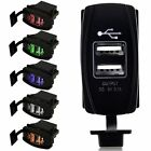 Waterproof LED 12-24V 3.1A Motorcycle Car Dual USB Power Charger Port