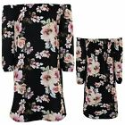 Women Off Shoulder Bardot Textured Crepe 3/4 Sleeve Floral Flare Mini Dress