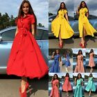 Fashion Women Summer Casual Shirt Dress Party Evening Cocktail Long Maxi Dress