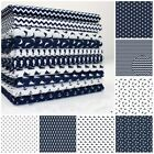 NAUTICAL MARINE - NAVY & WHITE 100% COTTON FABRIC stars dolphin whale sea horse