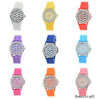 GIFT Women Wave Pattern & Rhinestone Dial Quartz Analog Silicone Wrist Watch