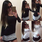 Womens Lace Long Sleeve Dress Crew Neck Casual Party Evening Cocktail Mini Dress