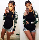 Womens Camouflage T-Shirts Ladies Long Sleeve Casual Shirt Short Blouse Tops New