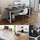 Computer Desk PC Table Home Office Black White Wood Metal Furniture Workstation