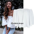 tp192 CFLB Ladies Loose Oversized Off Shoulder Ruffle Top Blouse Size 8 10 12