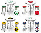 "FCR57 VINTAGE GAS THEMED SET WHITE PUB/BAR TABLE AND 2 - 29"" CHROME STOOLS"