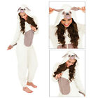 Womens 3D Cute Pug Dog Onesie Ladies Super Soft All In One With Ears & Tail