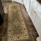 Green Outdoor Petals Buds Traditional-Persian/Oriental Area Rug Bordered 1806