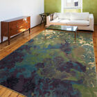 Green Petals Curls Buds Leaves Contemporary Area Rug Floral 3802