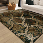 Brown Contemporary Synthetics Blocks Leaves Garlands Area Rug Geometric 3218