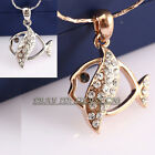 Fashion Rhinestone CZ Charm Fish Necklace Pendant 18KGP Crystal