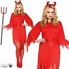Adults Ladies Wicked Satan Devil Halloween Fancy Dress Costume Outfit with Horns