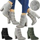 Womens Ladies High Block Heels Faux Fluffy Fur Pom Pom Ankle Boots Booties Size