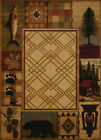 Brown Contemporary Synthetics Bears Paws Prints Area Rug Nature Print 750-05117