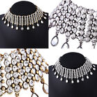 Luxury Women Crystal Charm Pendant Choker Chunky Statement Bib Chain Necklace