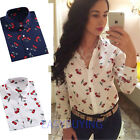 Vintage Women's Long Sleeve Cotton Tops Casual Loose Floral Shirt Fashion Blouse