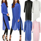 Womens Long Sleeve Chiffon Casual Long Shirt Top Blouse Dress Plus Size AU 8-22