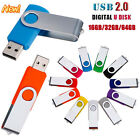 1-64GB USB2.0 Swivel Metal Flash Drive Memory Stick Pen Storage Thumb U Disk LOT