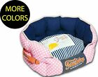 Polka-Striped Polo Rounded Circular Fashion Designer Pet Dog Bed Beds