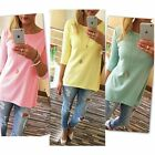 Women's Fashion 3/4 Sleeve Casual Tees Shirts Pure Color O Neck Loose Tops