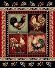 """Rustic Lodge Log Cabin Decor Four Roosters 3' 9"""" x 5' 3"""" Area Rug Carpet"""