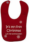 My First Christmas Baby Feeding Bib Newborn-3yr Touch Fastener Boy Girl Xmas