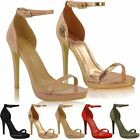 Womens Ladies High Heel Peep Toe Barely There Ankle Strappy Buckle Sandals Size