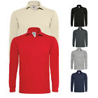 New B&C Mens Heavymill Cotton Long Sleeve Pique Polo Shirt in 5 Colours S - XXL