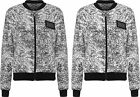 Womens Bomber Jacket Top Ladies Fleck Print Badge Long Sleeve Zip Crew Neck 8-14