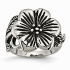 Stainless Steel Antique Finish Flower Ring