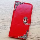 Skull phone wallet Leather flip case Red Stand cover For Motorola Moto G4 X play