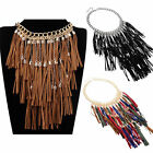 Jewelry Tassel Cluster Rope Cotton Long Pendant Chunky Statement Bib Necklace