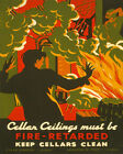 POSTER CELLAR CEILINGS MUST BE FIRE RETARDED CLEAN USA VINTAGE REPRO FREE S/H