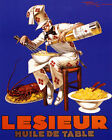 POSTER FRENCH CHEF COOKING LOBSTER PASTA LESIEUR OLIVE OIL VINTAGE REPRO FREE SH