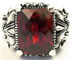 BIG RED RUBY STERLING 925 SILVER RING GOTHIC FLEUR DE LIS KNIGHT JEWELRY