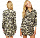 Ladies NEW Camouflage Army Print Utility Button Front Camo Top Shirt Dress 10-14