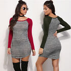 Hot Sale Lady Long Sleeve O Neck Stretch Bodycon Cocktail Patchwork Mini Dress A