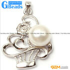 White Gold Plated Basket Shape 10-11mm Freshwater Pearl Pendant Free Shipping