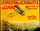 POSTER FIRST AVIATION EXHIBITION IN SPAIN 1910 AIRPLANE VINTAGE REPRO FREE S/H