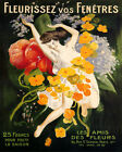 POSTER FLEURISSEZ BLOSSOM FLOWER GIRL FRENCH CAPPIELLO VINTAGE REPRO FREE S/H