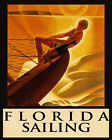 POSTER FLORIDA WOMAN WIND SPEED SAILING UNDER THE SUN VINTAGE REPRO FREE S/H