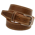 1 3/8  Olive Re-Tanned Leather Belt Decorative Stitching Natural Edge