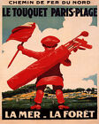 POSTER LE TOUQUET GOLF COURSE CADDY BOY SEA FOREST FRANCE VINTAGE REPRO FREE S/H